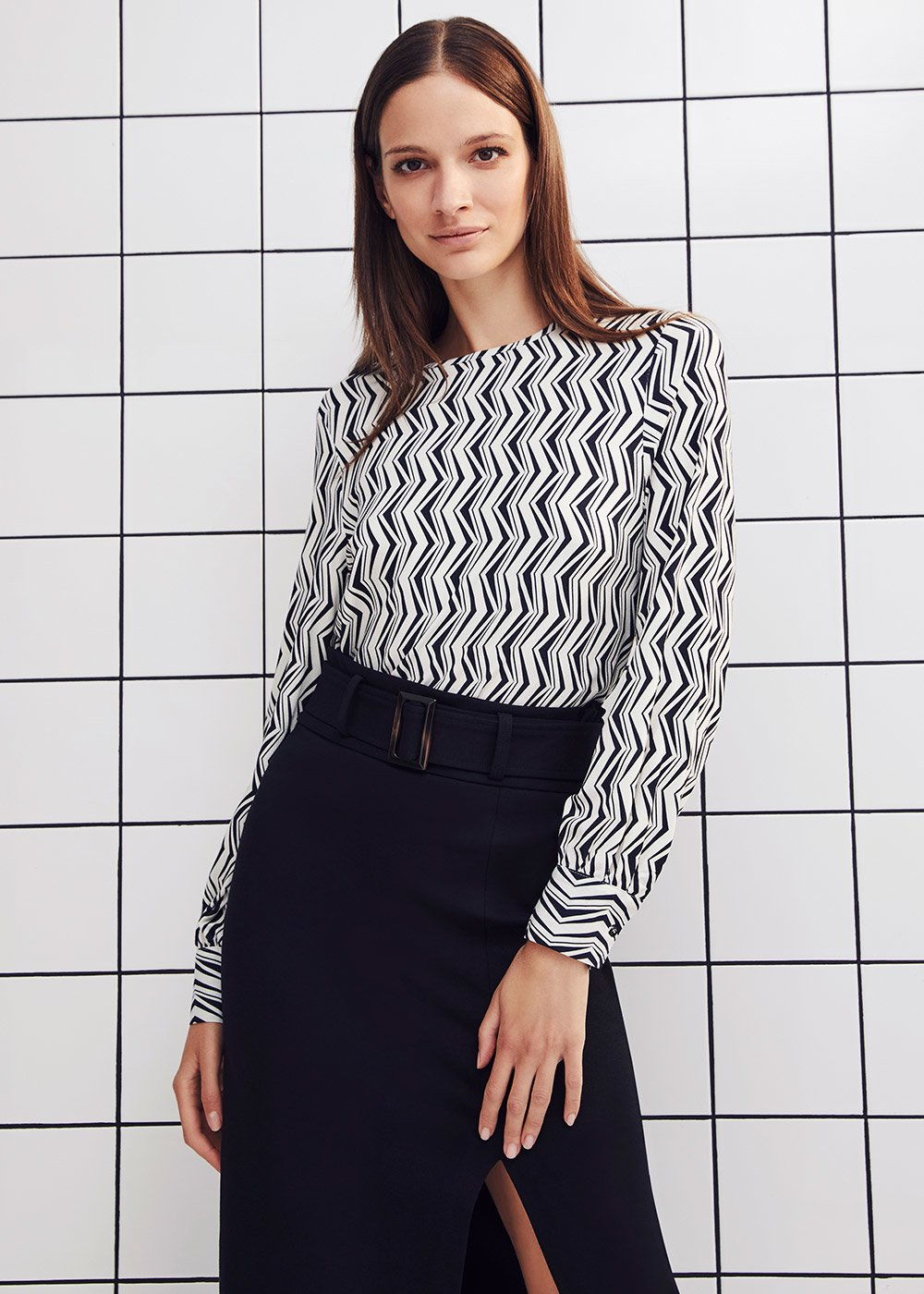 Stefi patterned t-shirt - Black / White / Multi - Woman