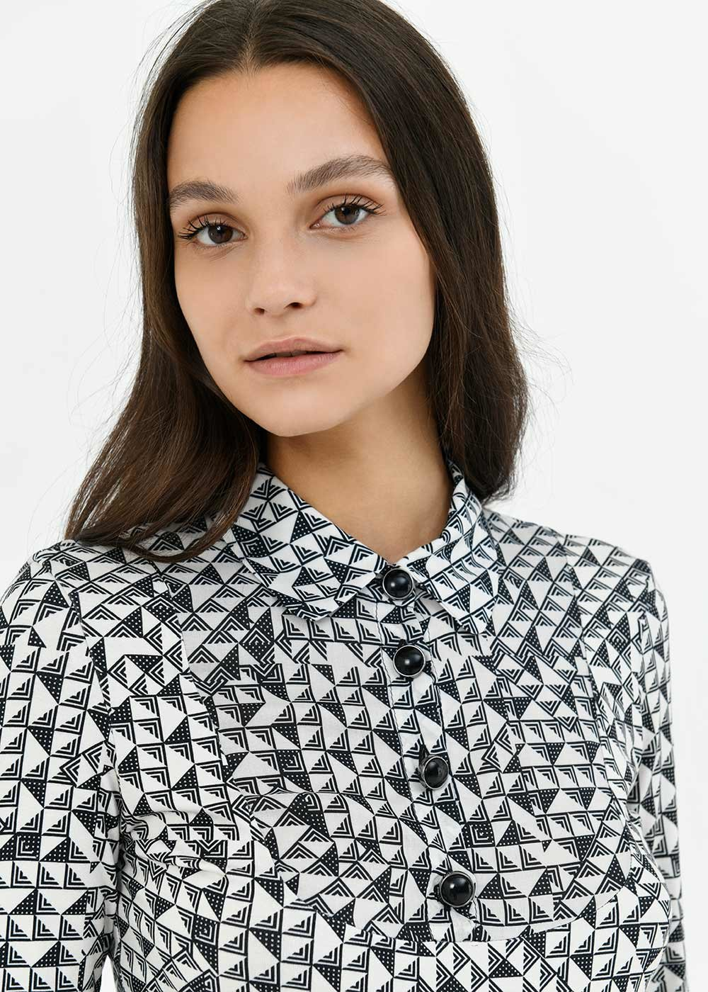 Susy t-shirt with geometric pattern - Black / White / Multi - Woman