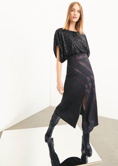 Georgia asymmetric striped skirt