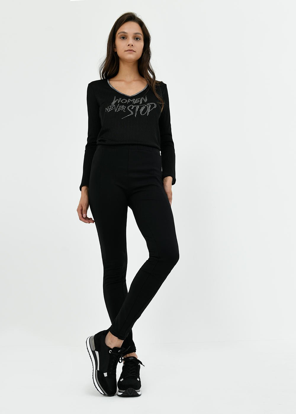 Leggins Leroy in punto milano - Black - Donna