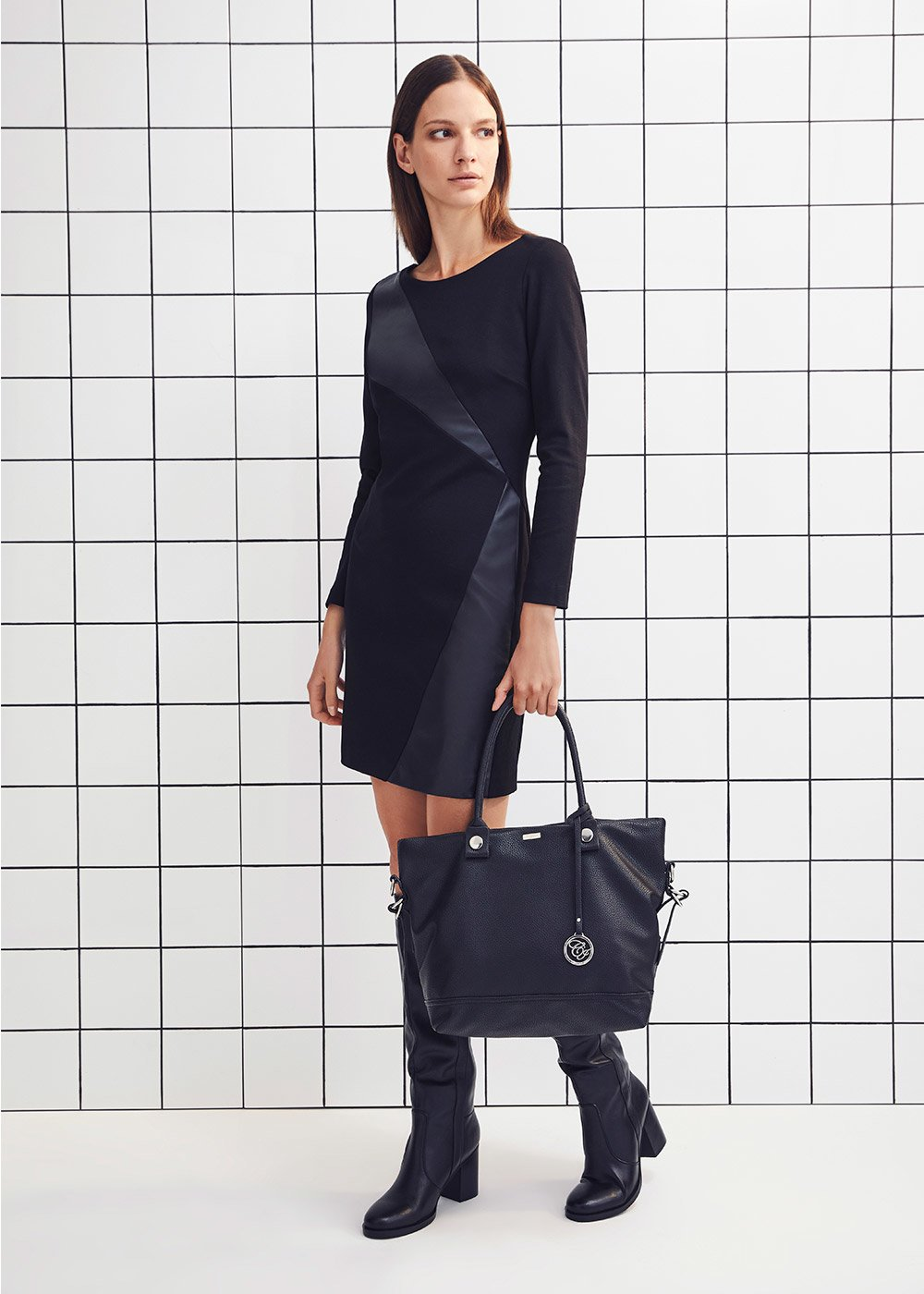 Scarlett dress with faux-leather insets - Black - Woman