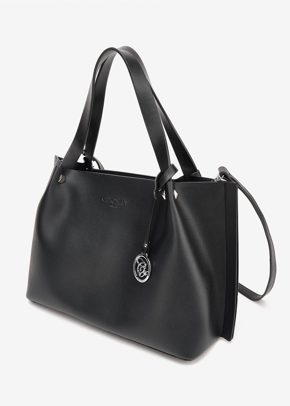 Banny shopping bag with logo pendant - Black - Woman