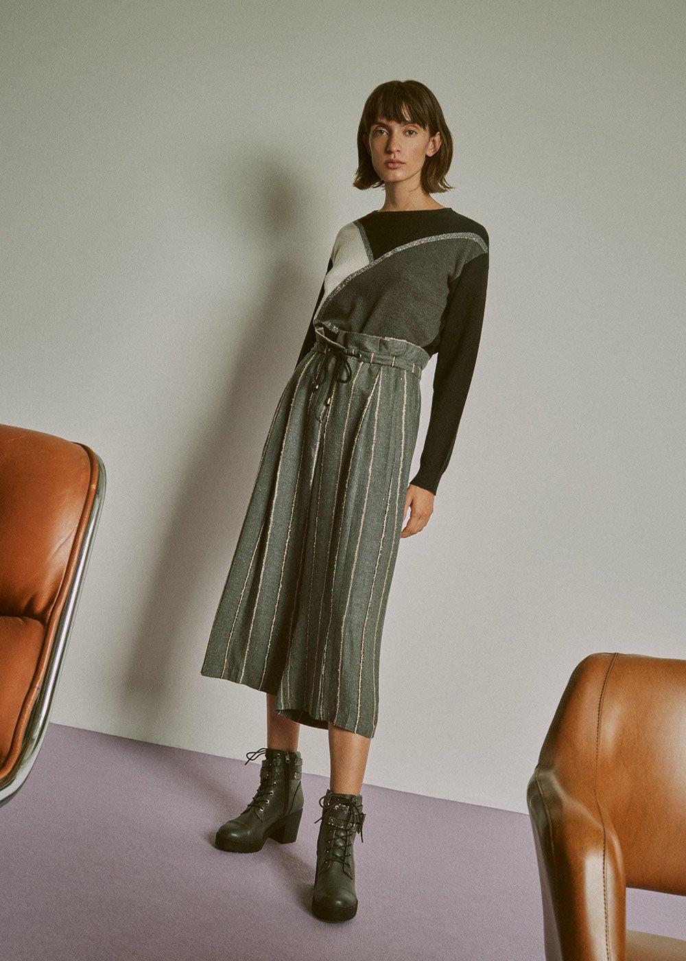 Primo short leg trousers - Grey Melange \L. Beige Stripes - Woman
