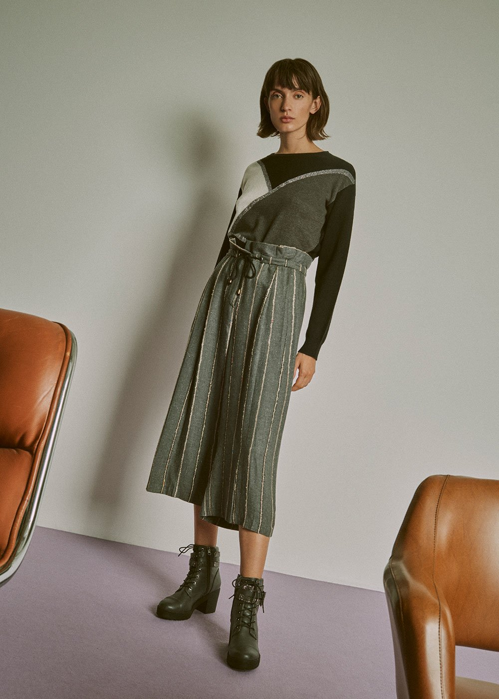Pantalone Primo gamba corta - Grey Melange\L. Beige Stripes - Donna
