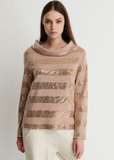 Marzya Turtle Neck Sweater with Paillettes Stripes