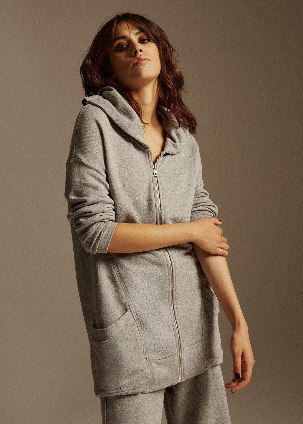 Clue long sleeves Fleece - Light Grey - Woman