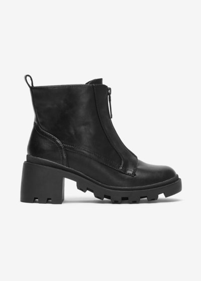 Shiv ankle boot with lug sole and large heel