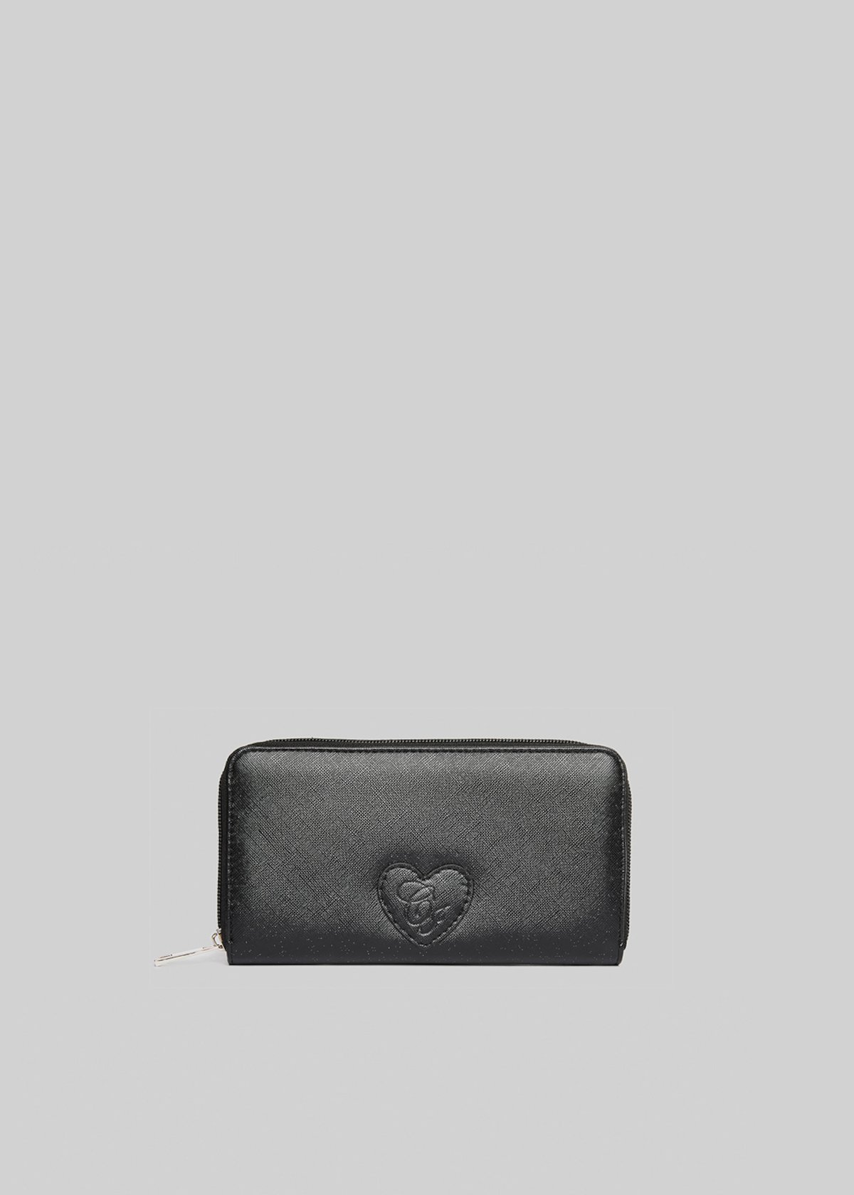 Pinkas saffiano lurex faux leather wallet with heart patch
