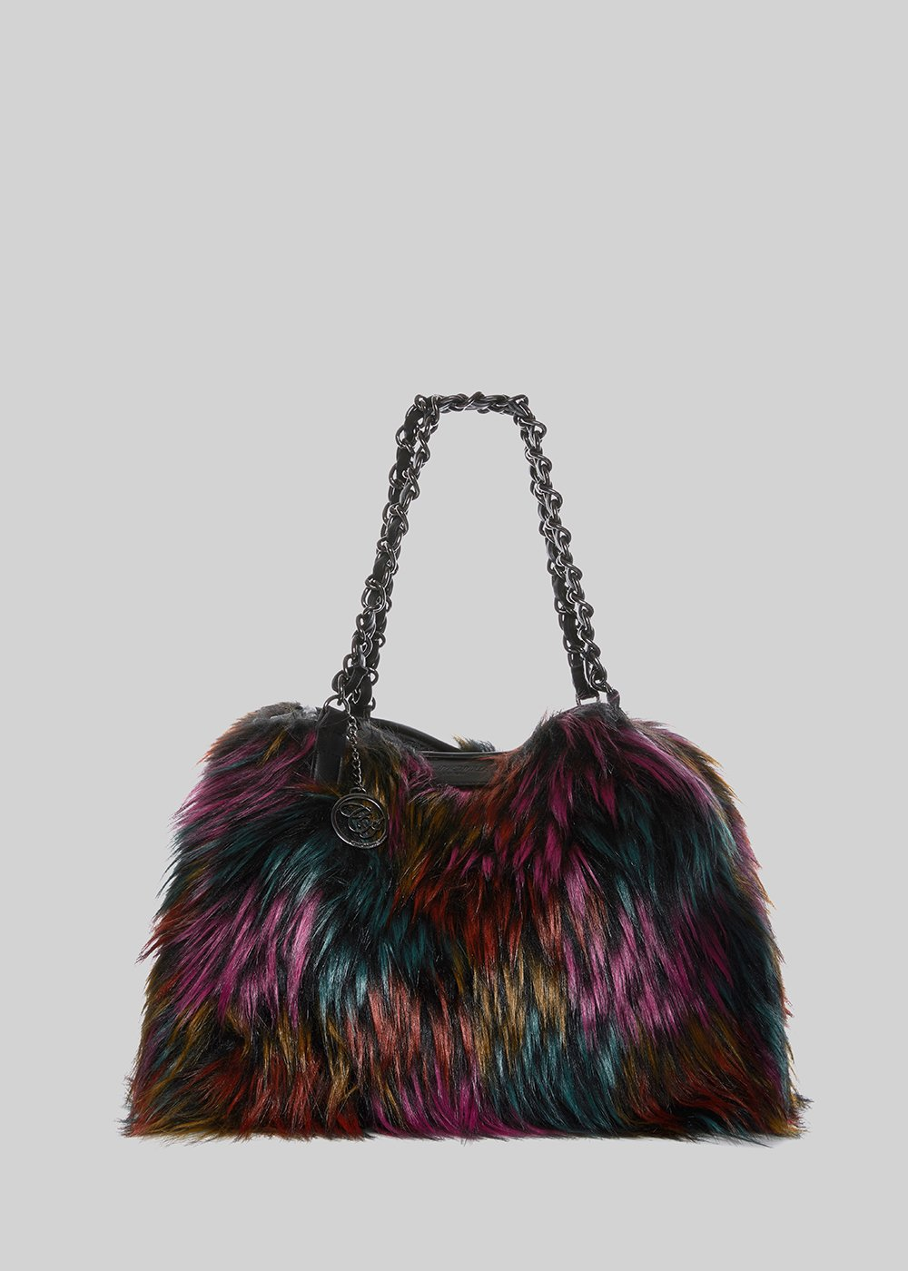 Fake fur multicolor bag Favolosa with chain handles - Black Fantasia