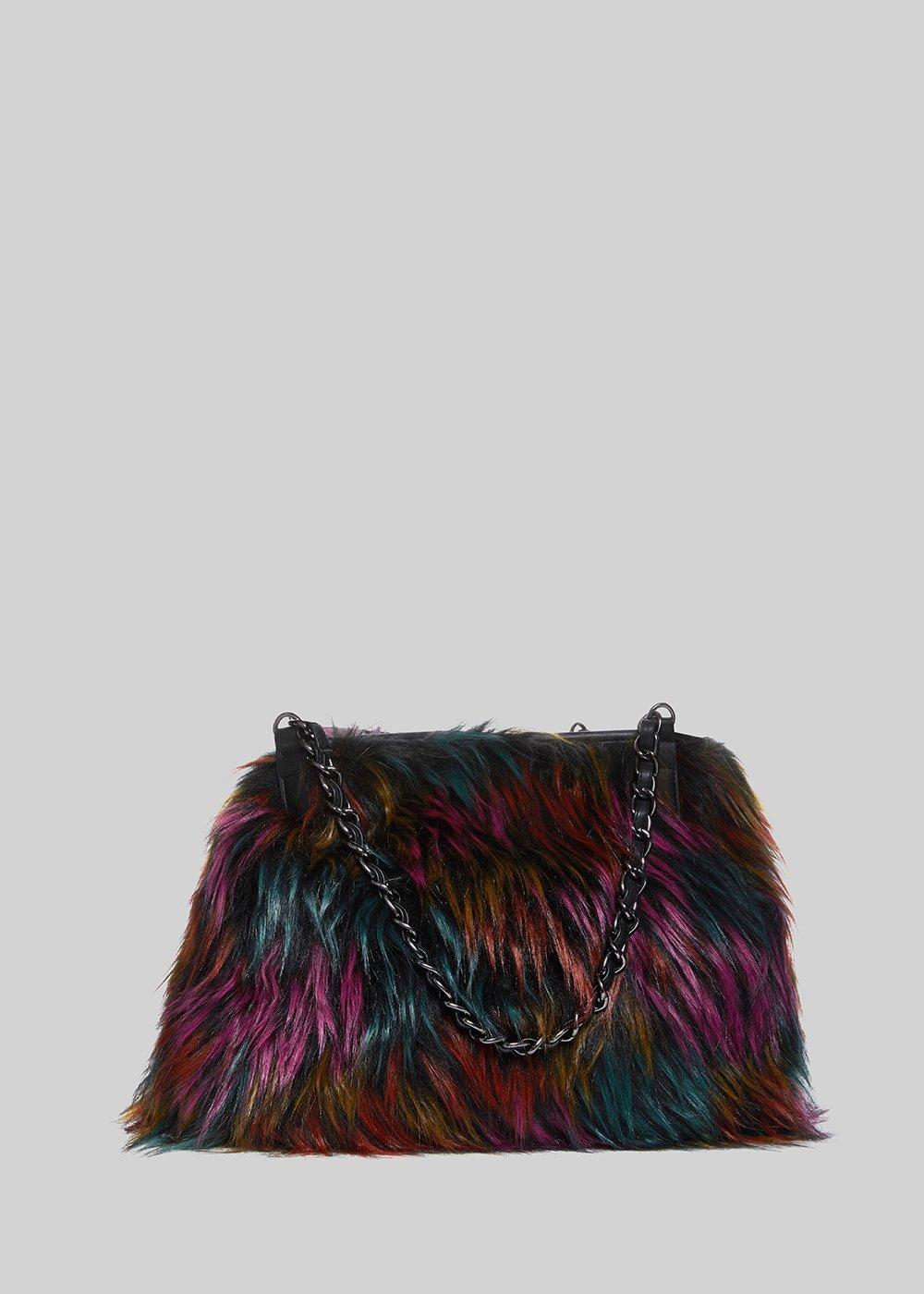 Fake Fur Multicolor Bag Favolosa With Chain Handles  951a1d8c41717
