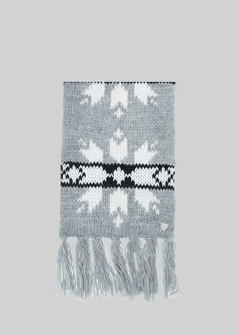 Sady scarf with snowflake pattern and fringes - Grey / White /  Black