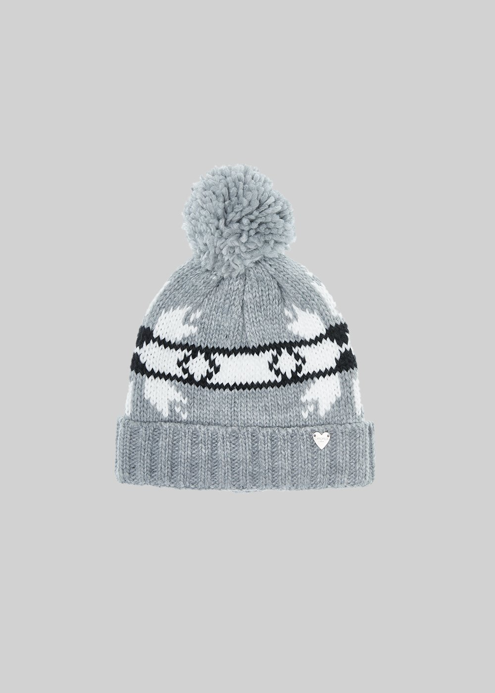 Cady knitted hat with bow and pompom pattern - Grey / White /  Black
