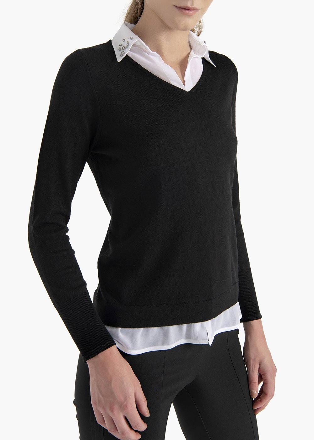 Maya sweater with georgette shirt effect - Black /  White - Woman