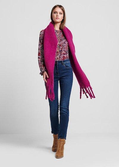 Maxi sciarpa in lana cotta con frange