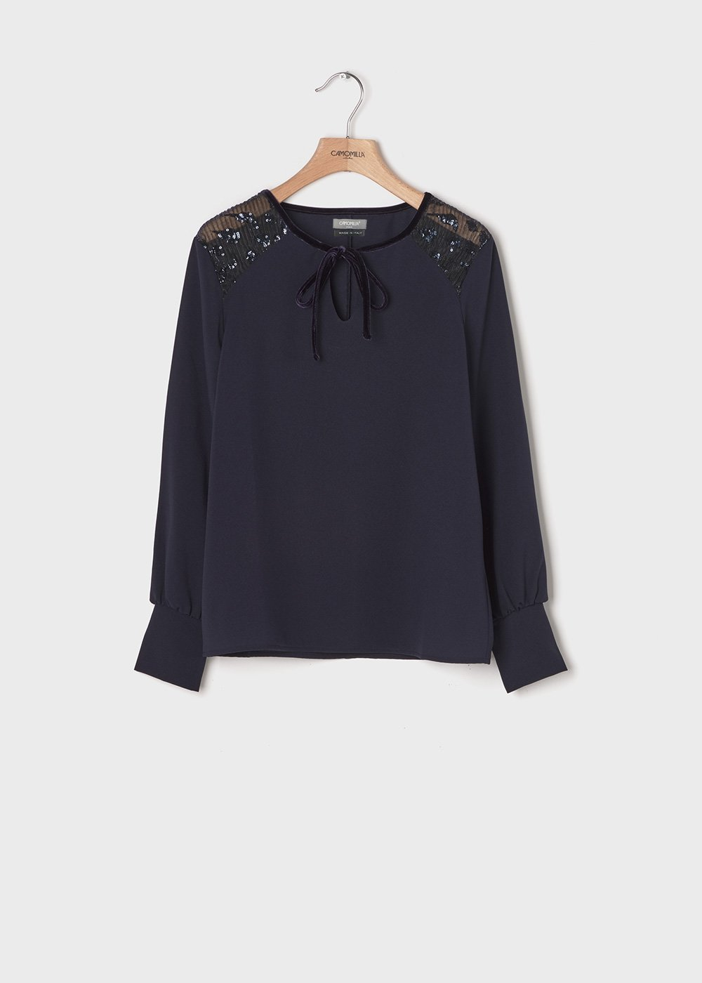 Shirt with tulle inserts and sequins on the shoulders - Medium Blue - Woman