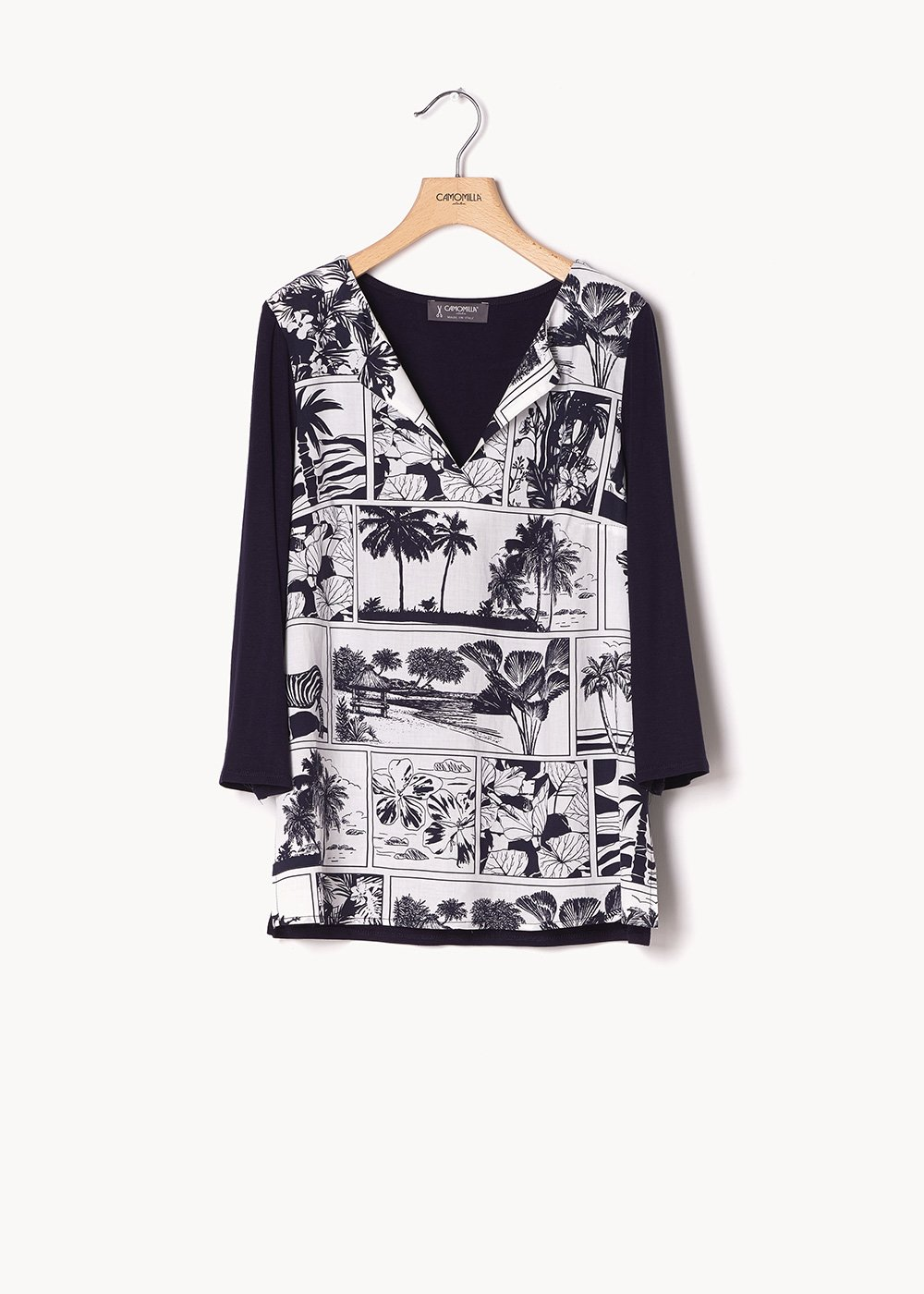 Stefany sweater with comic print - Navy White Fantasia - Woman