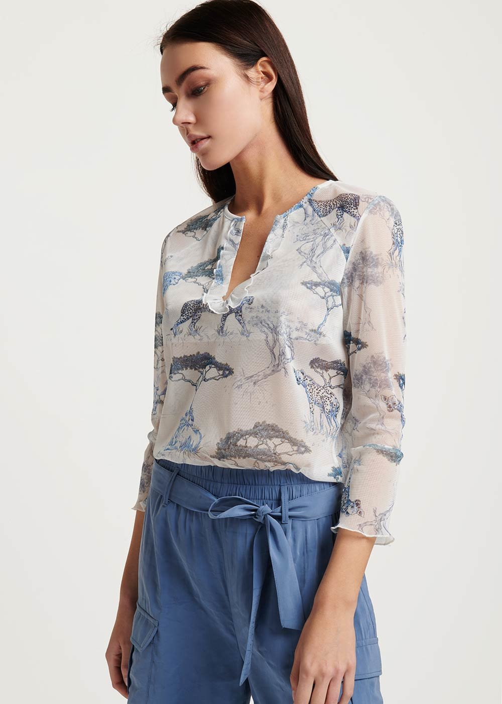 T-shirt Sirya stampa savana - White \ Avion Fantasia - Donna