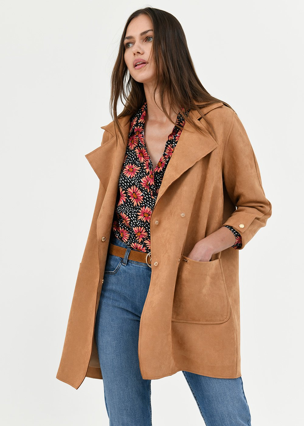 Todd faux-suede trench coat - Tobacco - Woman