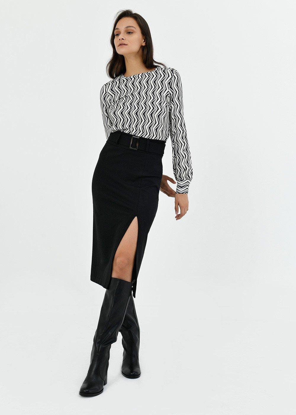 Gaya pencil skirt with waist belt - Black - Woman