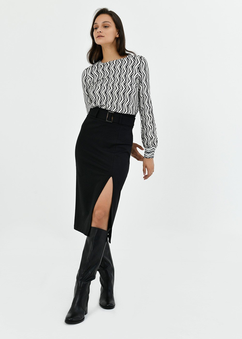 Gaya pencil skirt with waist belt - Black - Woman