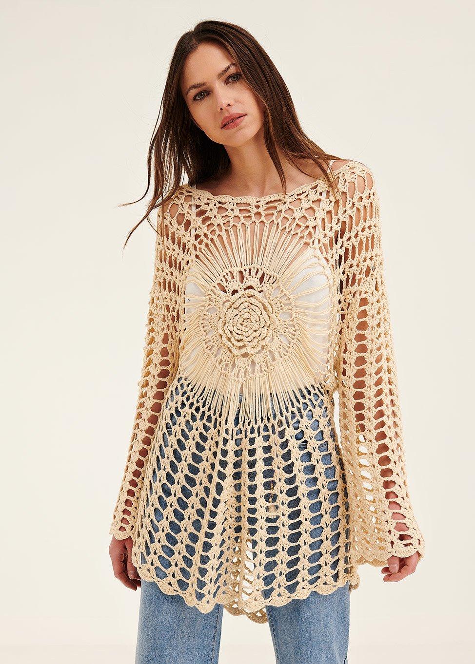 Mantella Mika in crochet - Light Beige - Donna
