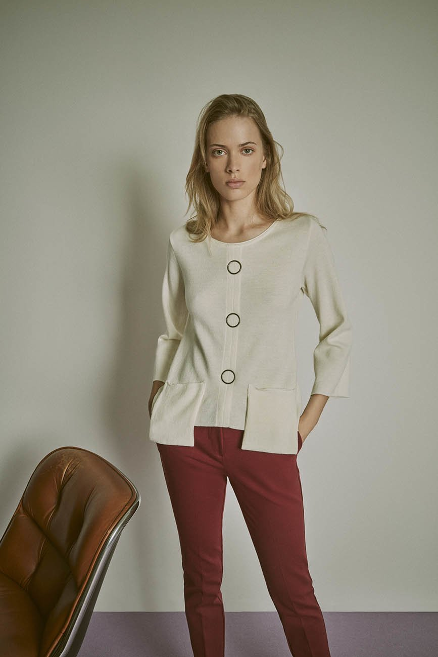 Micaela sweater with metal details - Light Beige - Woman