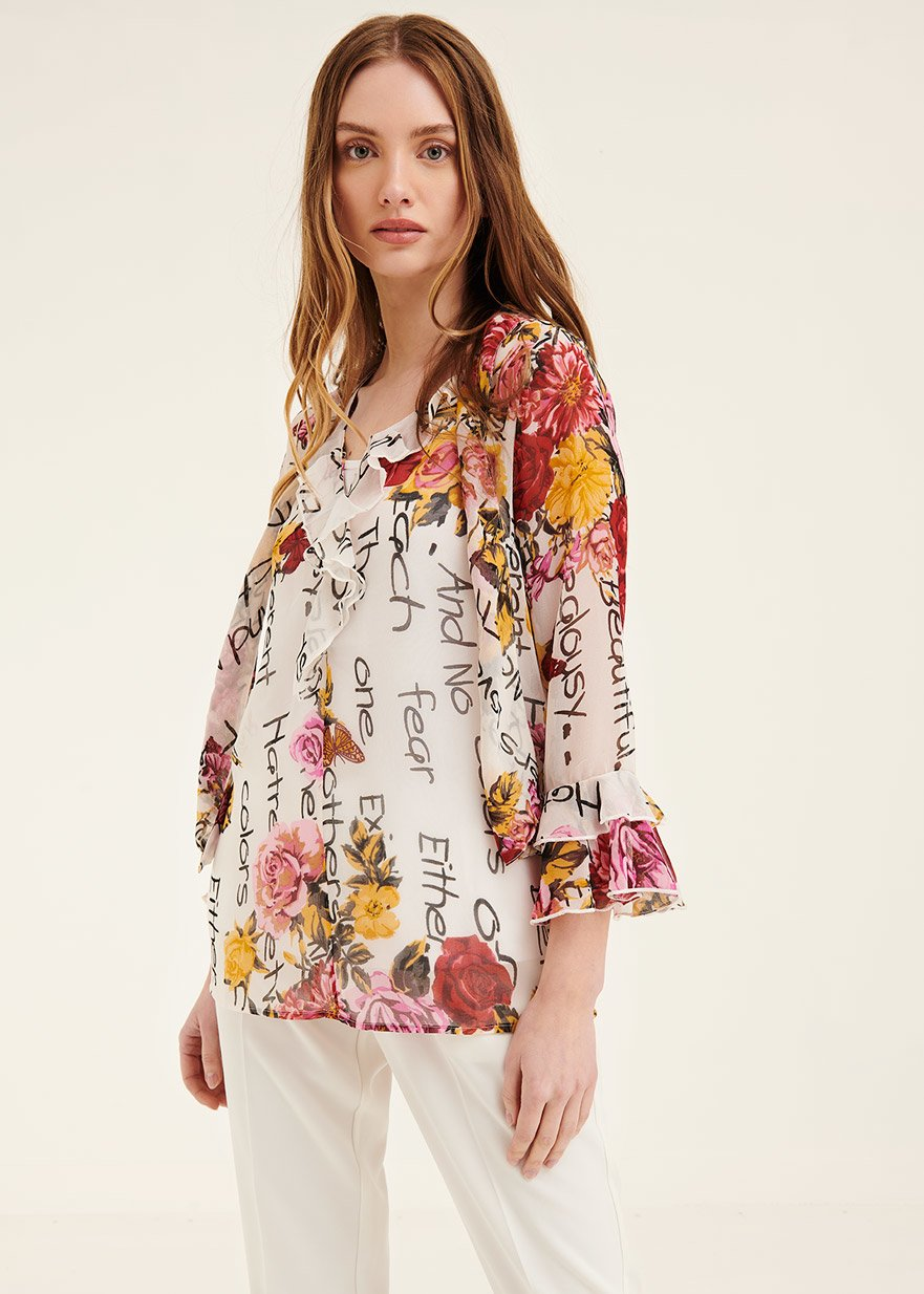Clid shirt with floral pattern - Black White Fantasia - Woman