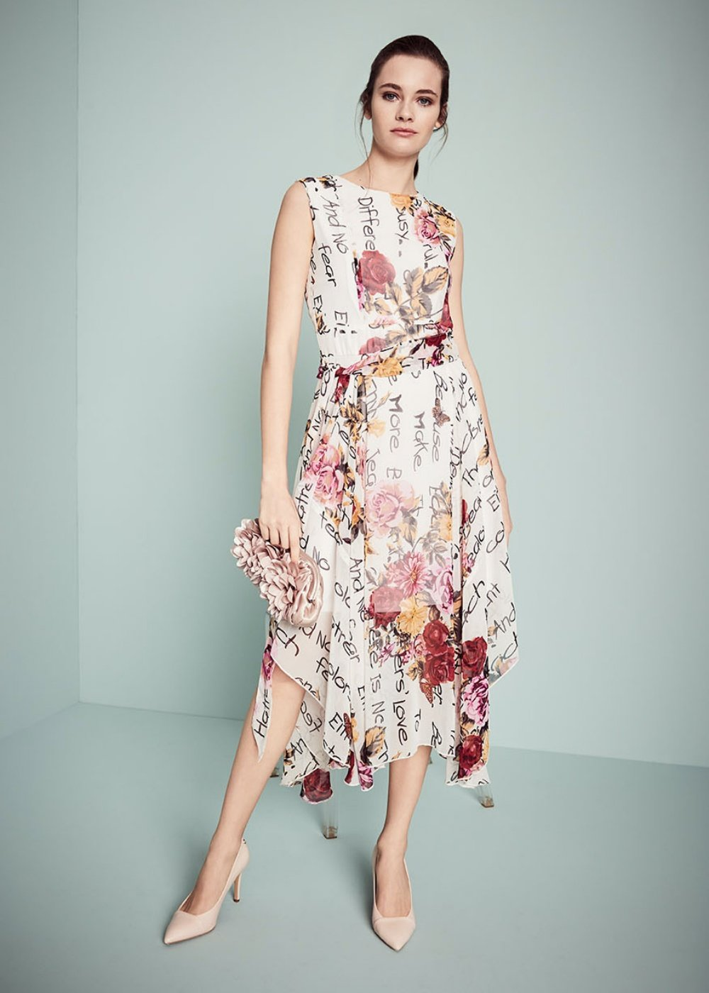 Aramis dress with floral pattern - Black White Fantasia - Woman