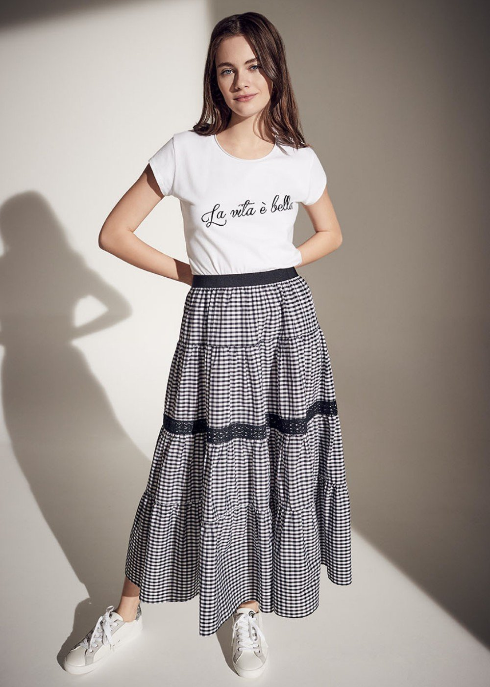 Giulia vichy print skirt - Black White Fantasia - Woman