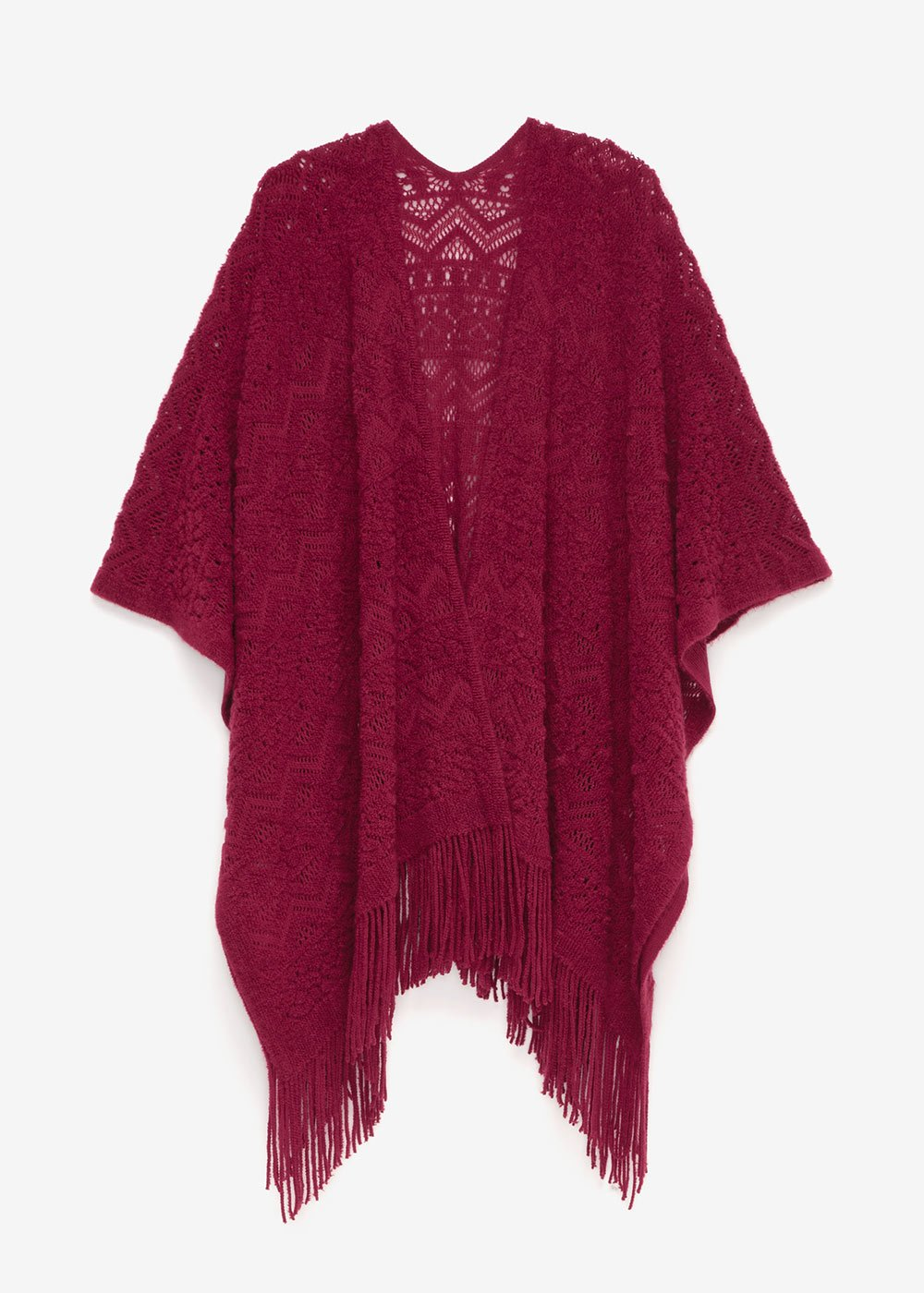Marie cape with fringes - Purple - Woman