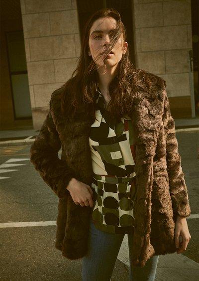 Grays lasered faux fur coat