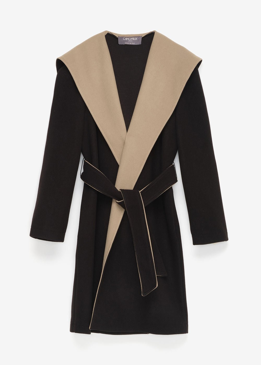 Chris two-tone coat - Black / Miele - Woman