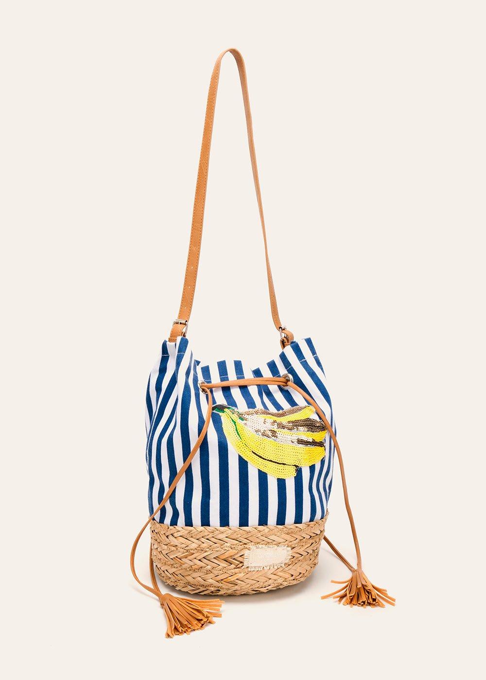 Blank cotton and straw bucket bag - Dark Blue Stripes - Woman