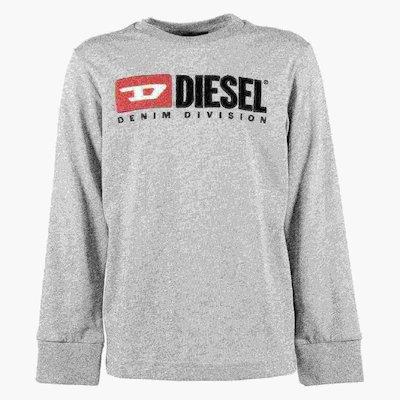 T-shirt grigio melange in jersey di cotone con logo anni '90