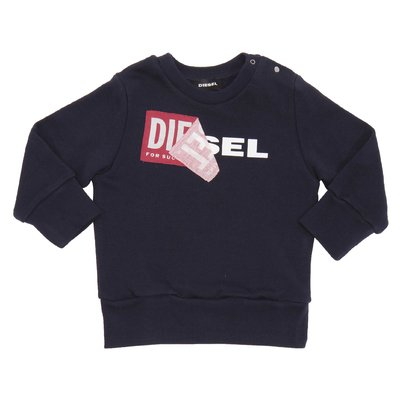 DIESEL navy blue logo detail cotton sweatshirt