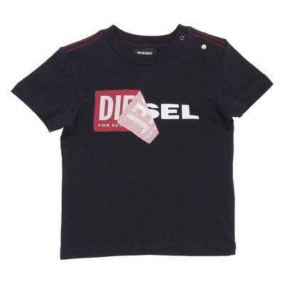 DIESEL navy blue logo detail cotton jersey t-shirt