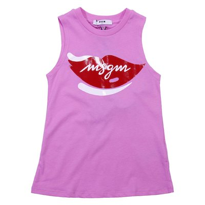 Pink cotton jersey tank top