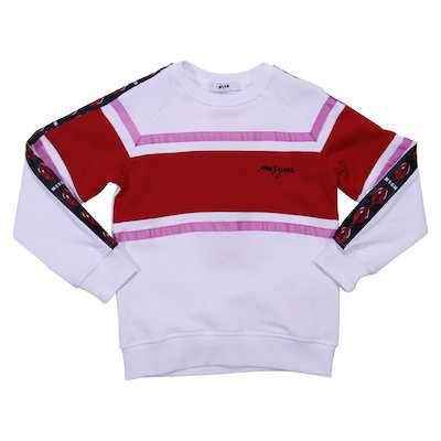 White & red cotton sweatshirt