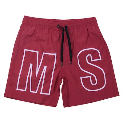 Red nylon swim shorts