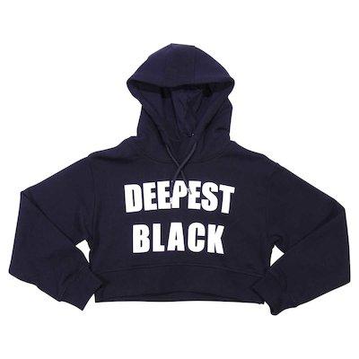 Felpa nera in cotone con cappuccio