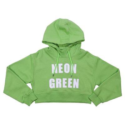 Felpa verde fluo in cotone con cappuccio
