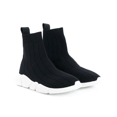 Black cotton knit slip-on sneakers
