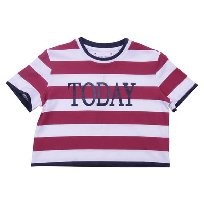 White and red striped cotton jersey t-shirt