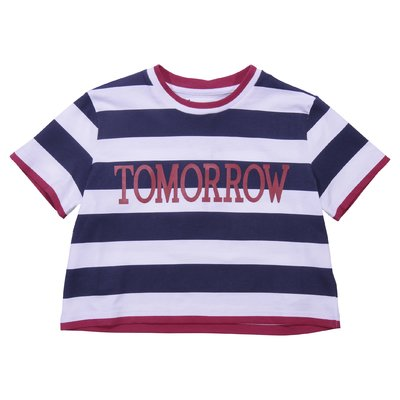 Blue and white striped cotton jersey t-shirt