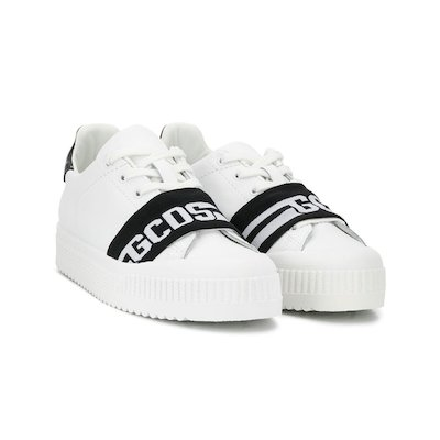 White logo leather sneakers