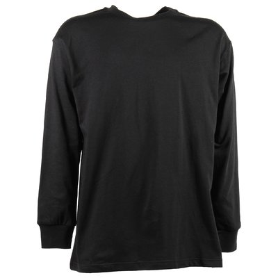 T-shirt nera in jersey di cotone con logo vintage