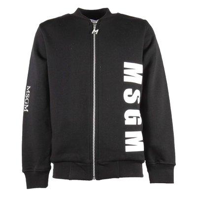 Felpa nera in cotone con zip e multi logo