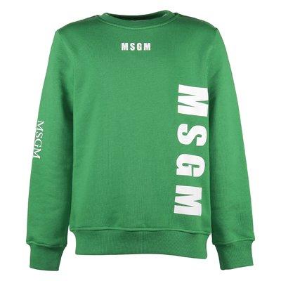 Felpa verde multi logo in cotone