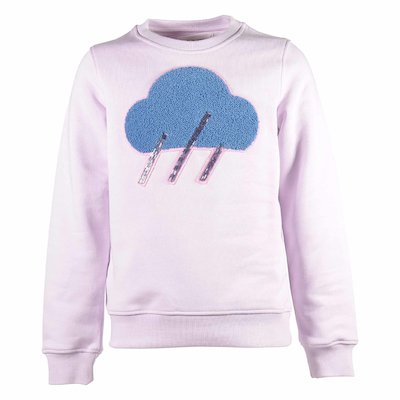 Pink cotton decorated sweatshirt