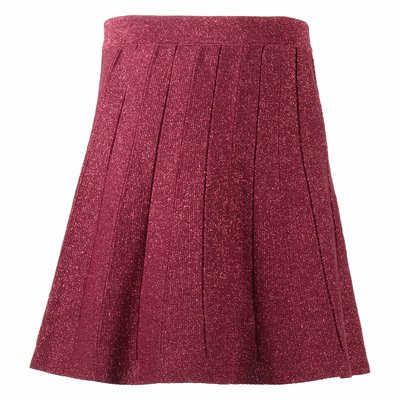 Red glittered viscose skirt